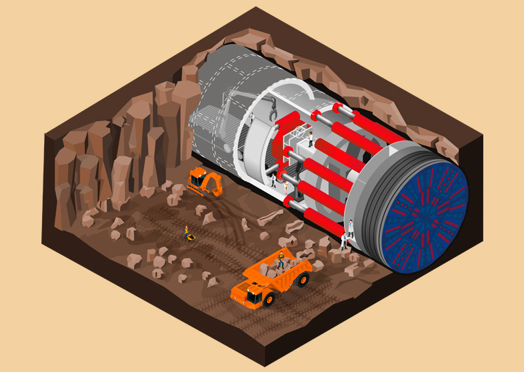 Detail of infographic about tunnel boring machines